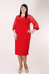 """Женское,нарядное,праздничное платье """"Альбина"""", ткань креп-дайвинг,гипюр,размеры 52,54,56,58 (023)красное,сукня"""