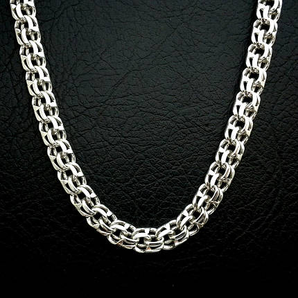 Cеребряная мужская цепочка, 600мм, 82 грамма, плетение Бисмарк, фото 2