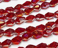 Бусины хрусталь КАПЛЯ Малая 7х5мм пачка - примерно 70 шт, цвет - винный прозрачный с АБ