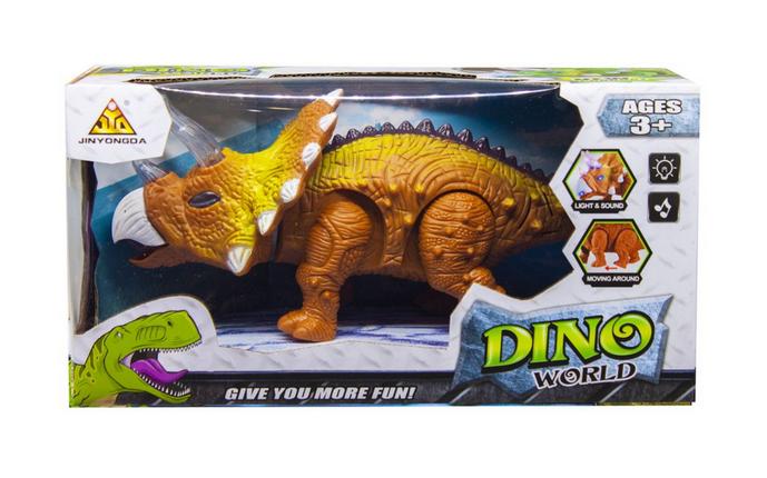 Игрушка интерактивная Динозавр Трицератопс.Динозавр игрушечный с светом и звуком.