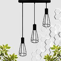 """Подвесной металлический светильник, современный индустриальный стиль """"CARAT-3"""" Е27  черный цвет"""