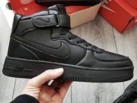 Кроссовки зимние мужские Nike Lunar Force 1 Duckboot кожаные черные  (ТОП реплика), фото 1