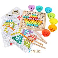 Многофункциональная деревянная игра мозаика, сортер Bead Holder с пинцетом