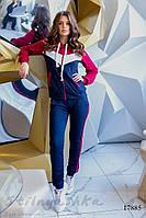 Женский трикотажный костюм синий с бордо, фото 1