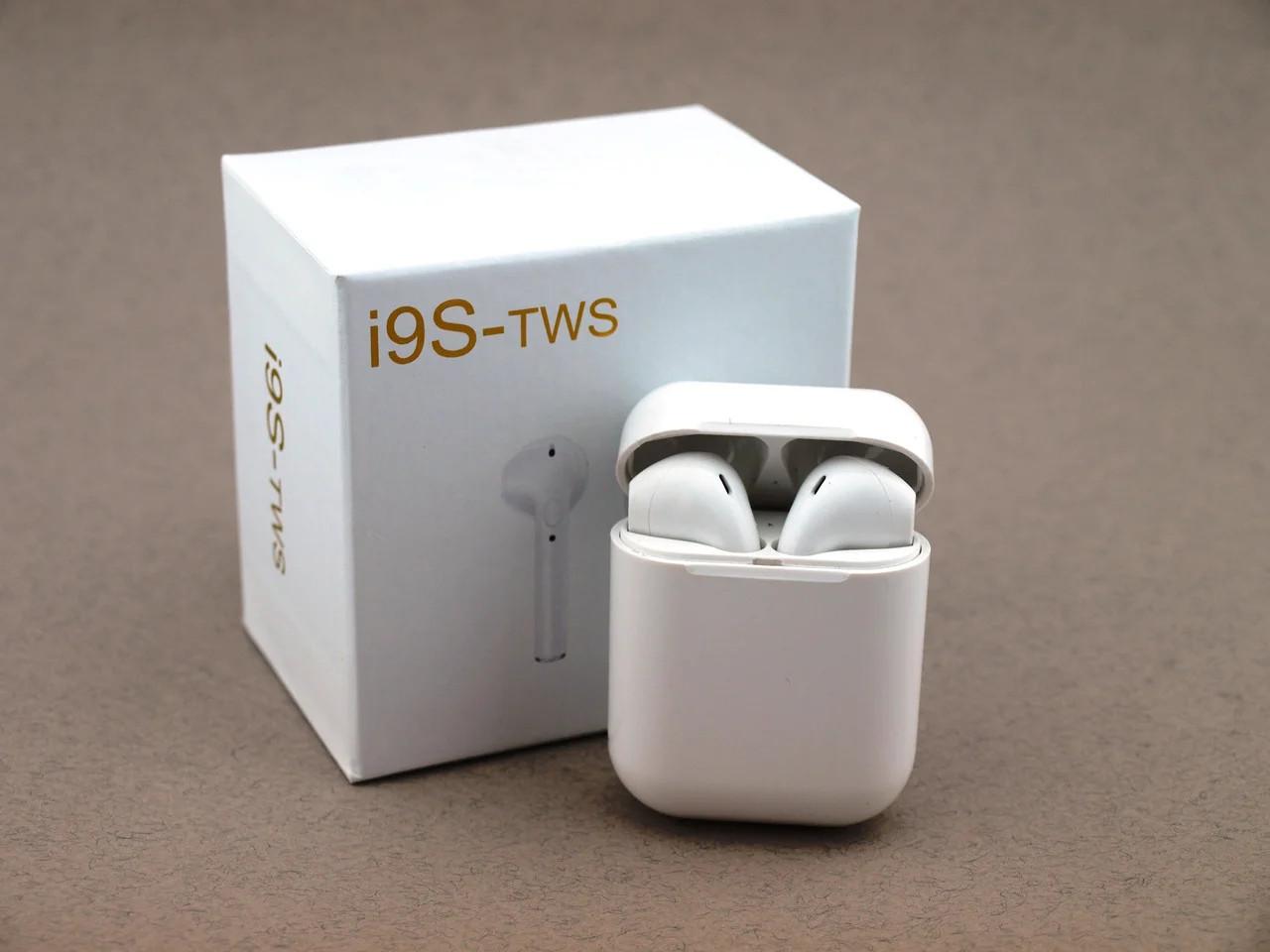 Беспроводные Bluetooth наушники I9S с кейсом и чехлом, белые