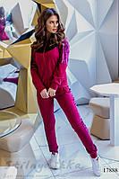 Женский комбинированный костюм марсала, фото 1