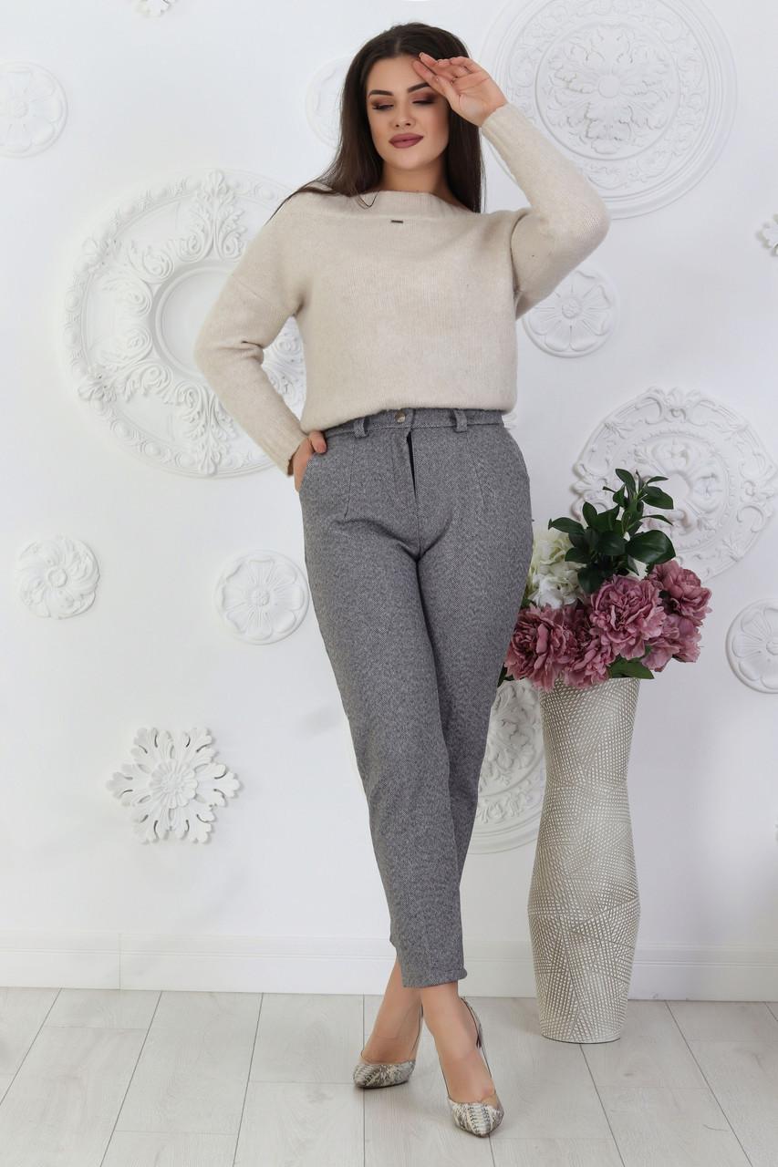 Стильные женские классические брюки из шерстяного трикотажа, батал большие размеры