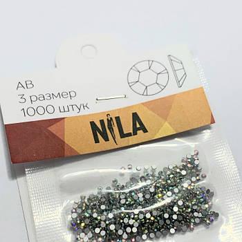 Стразы Nila SS3 Crystal AB, 1000 шт