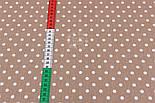 Лоскут ткани №86 с белым  горошком среднего размера на коричневом фоне, размер 42*72 см, фото 4