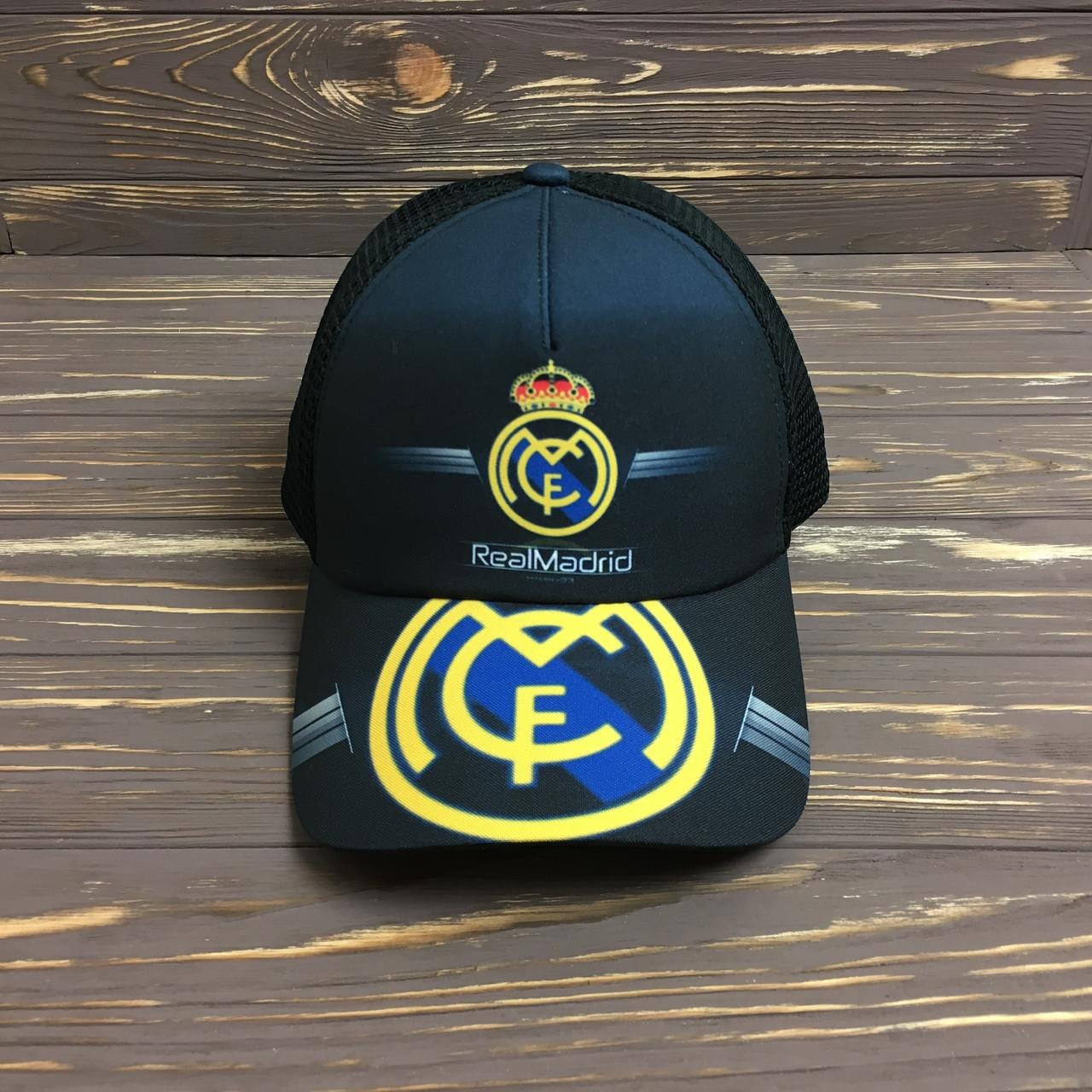 """Черная Кепка """"Real Madrid"""" с черной сеткой"""