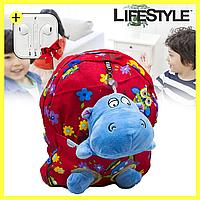 """Детский школьный портфель с игрушкой """"Бегемот"""", два цвета + ПОДАРОК! Наушники Apple"""