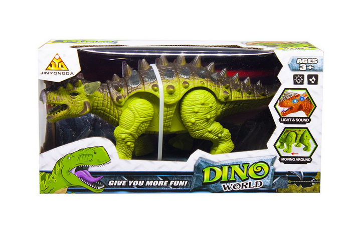 Динозавр детский Сколозавр.Игрушечный динозавр ходит.Динозавр с звуковыми эффектами. Зеленый