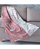 """Детский вязаный плед """"Единорожек"""" розовый с белым, 100х150см, фото 3"""