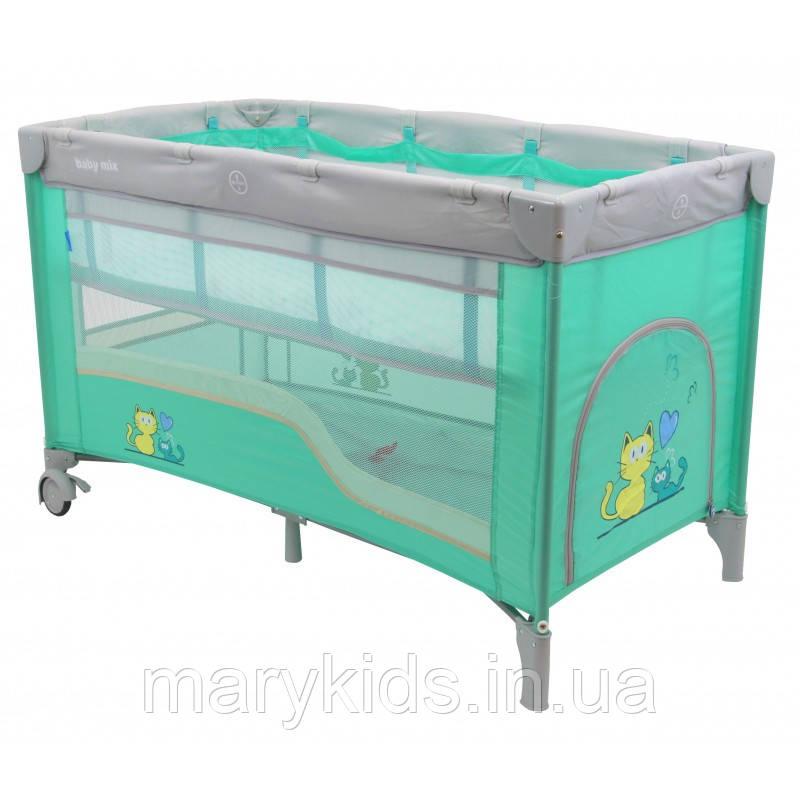 Манеж-кровать Baby Mix HR-8052-2 Mint 2-х уровневый