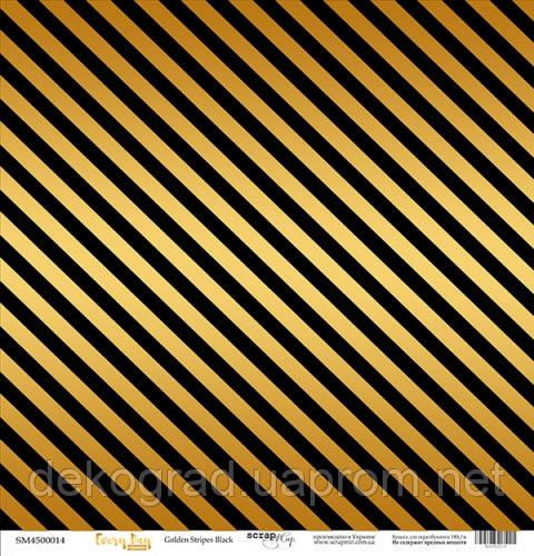 Лист односторонней бумаги с золотым тиснением 30x30 Golden Stripes Black от Scrapmir Every Day