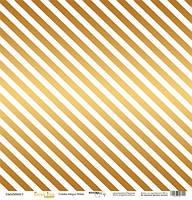 Лист односторонней бумаги с золотым тиснением 30x30 Golden Stripes White от Scrapmir Every Day