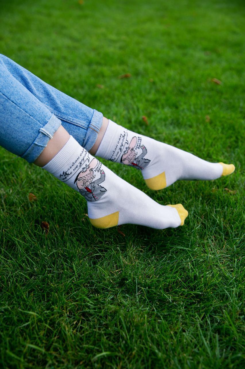 """Белые носки с рисунком """"Мульйон"""""""