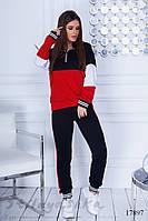 Свободный женский костюм черный с красным, фото 1