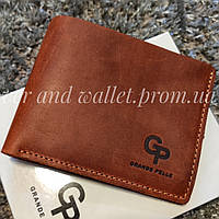 Тонкий коричневый кошелек без монетницы Grande Pelle