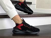 Кросівки жіночі в стилі  Adidas  Y-3   Kaiwa   чорні з червоним   ТОП якість