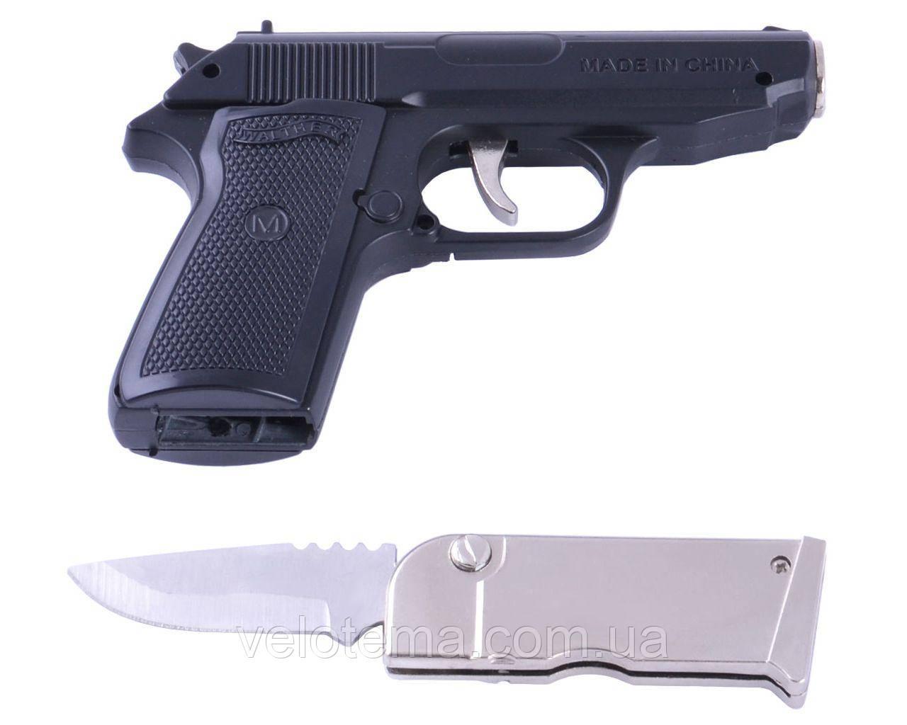 Зажигалка газовая с ножом Walther PPK (Турбо пламя)  Black