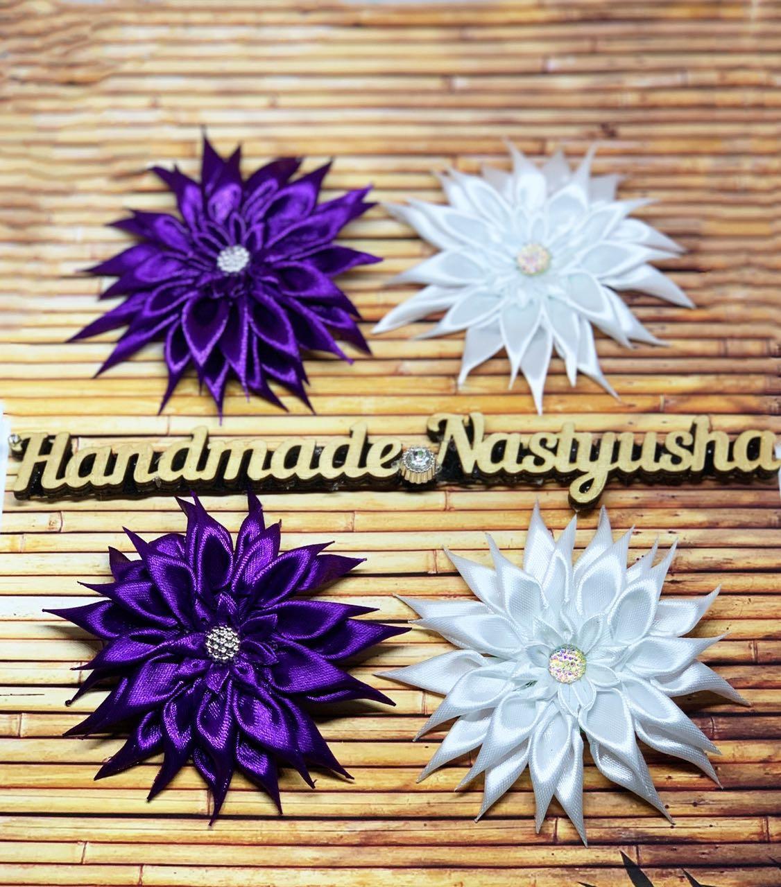 Заколка ручной работы цветок фиолетовый 00098