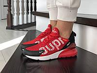 Жіночі кросівки в стилі  Nike Air Max 270  Supreme червоні з білим   (ТОП Якість)
