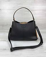 Черная сумка 57406 молодежная через плечо с горчичными вставками, фото 1