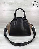 Кожаная сумка K5659 деловая через плечо черная с коричневым, фото 1