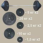 Штанга 88 кг разборная фиксированная прямая 1.8 м гриф с насечками наборная для дома домашняя, фото 2