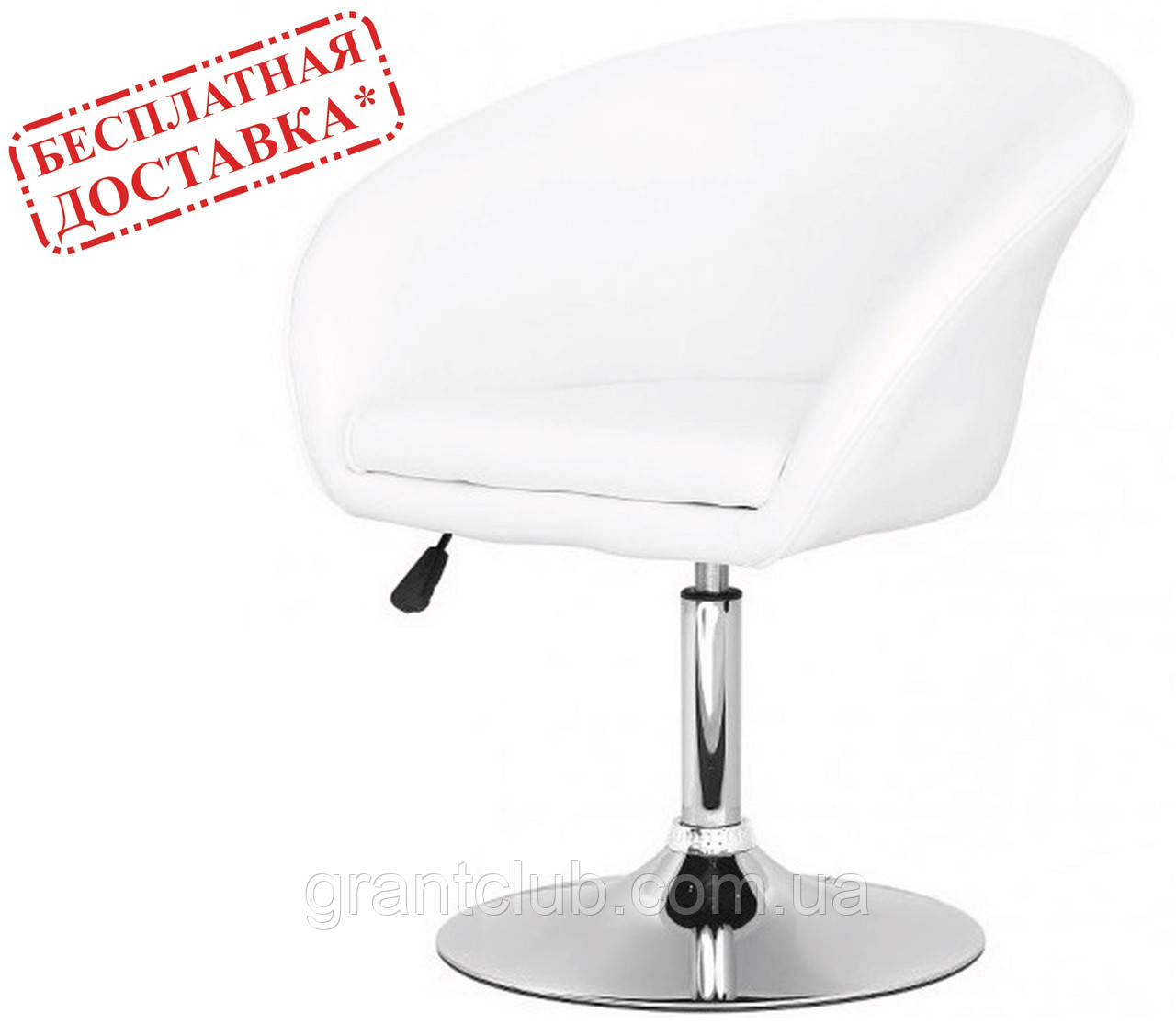 Кресло Мурат НЬЮ экокожа белая поворотное газлифт СДМ группа (бесплатная доставка)