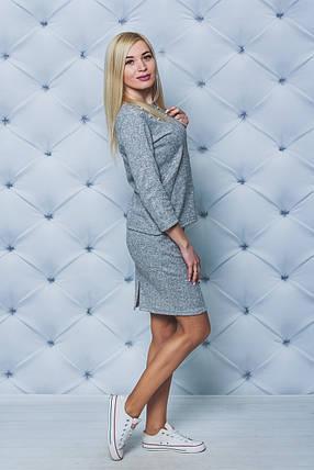 Костюм женский с юбкой светло-серый, фото 2