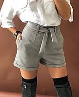 Женские классические шорты с высокой посадкой из замша на дайвинге, фото 1