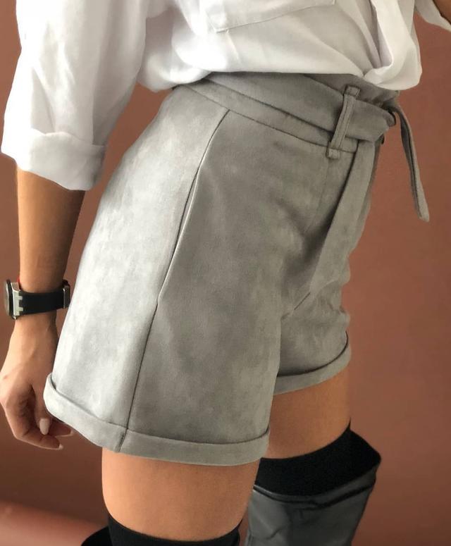 Женские классические шорты с высокой посадкой из замша на дайвинге