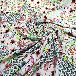 Ткань штапель принт абстракция с цветами