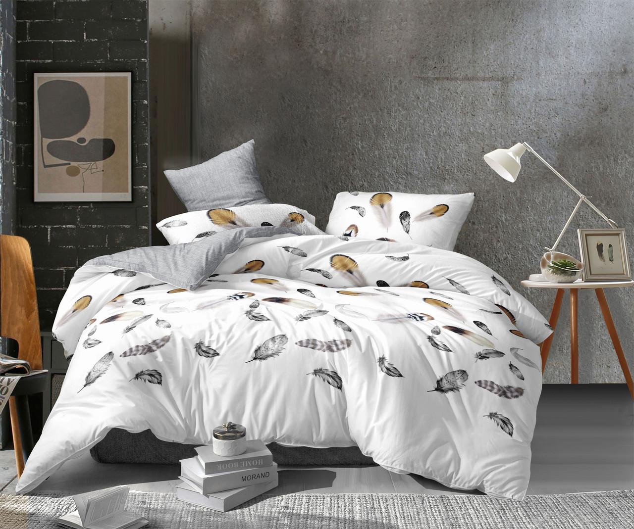 Двуспальный комплект постельного белья евро 200*220 сатин (13600) TM КРИСПОЛ Украина