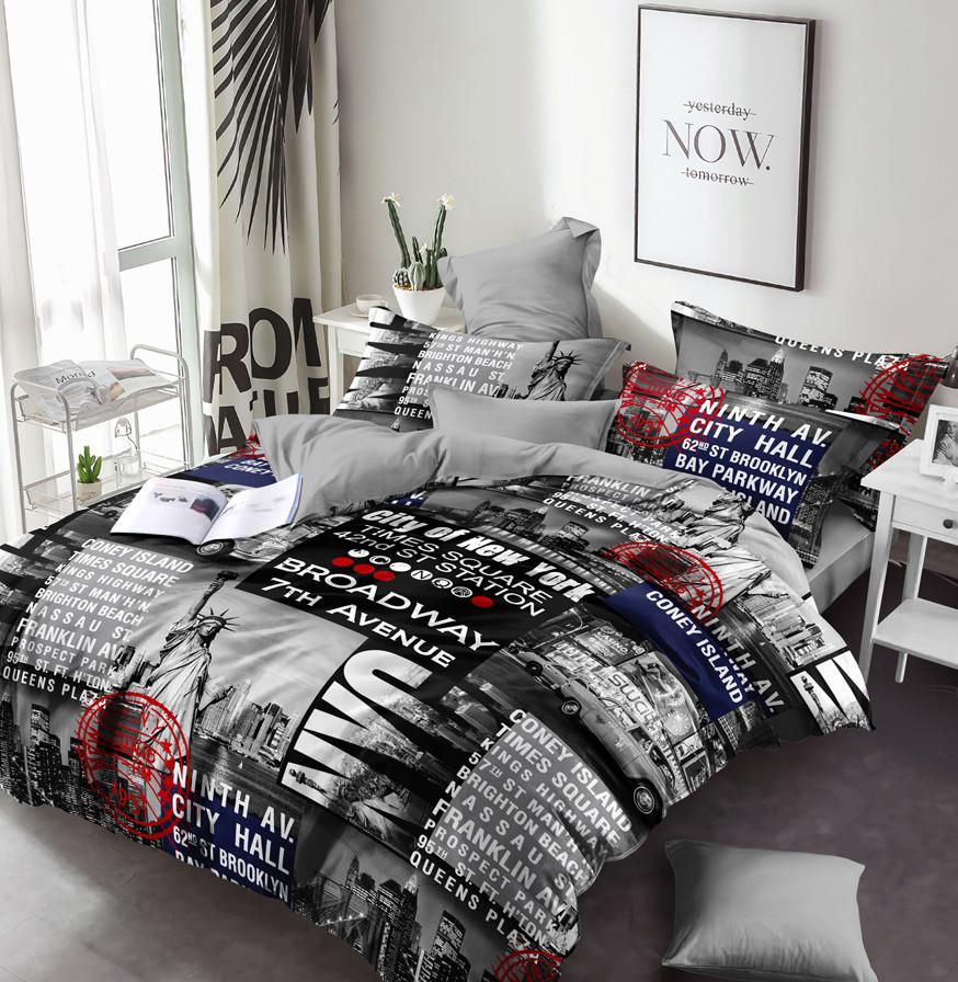 Семейный комплект постельного белья сатин (13602) TM КРИСПОЛ Украина