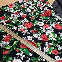 Ткань штапель принт розы на черном, фото 3
