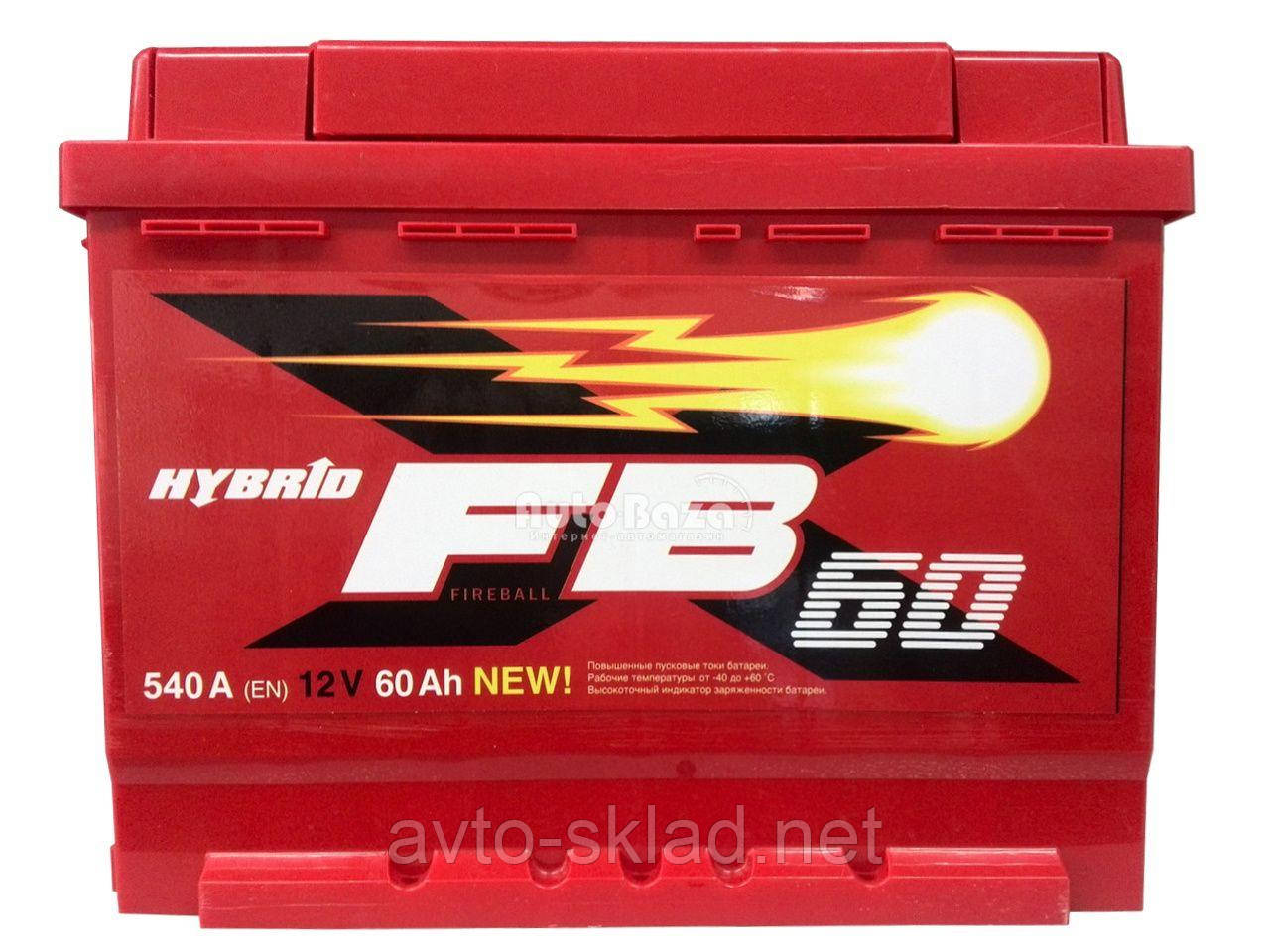 Аккумулятор 60А евро глазок 540А Fireball