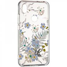 Чехол накладка силиконовый Diamond Younicou New для Samsung A805 A80 Blue Flowers