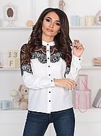 S, M, L, XL / Романтична жіноча біла блузка з мереживом