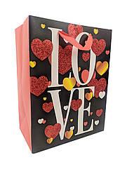 """Подарунковий пакет 212S-1 """"LOVE"""", р-р 18*23*10см,"""