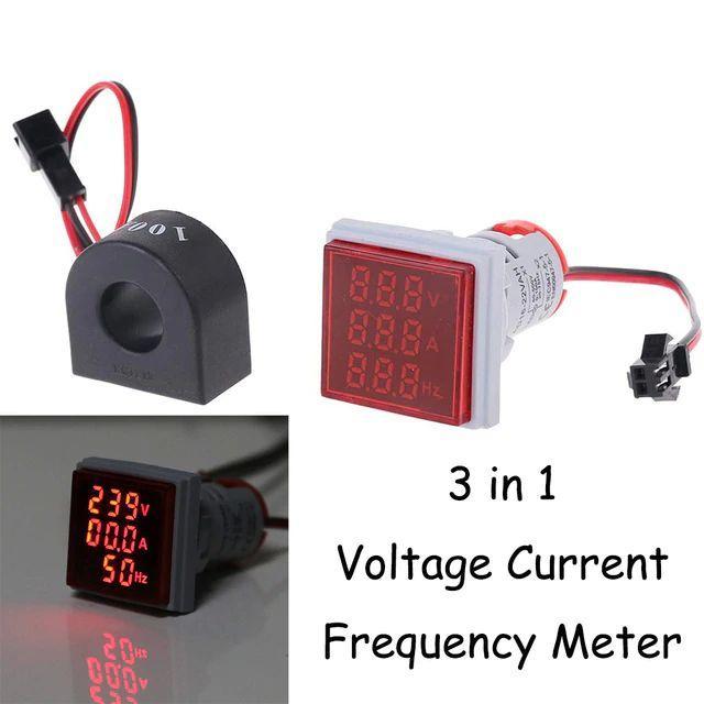 Цифровий вольтметр - амперметр - частотометр 3в1 220 вольт 1 фазний квадратний червоний