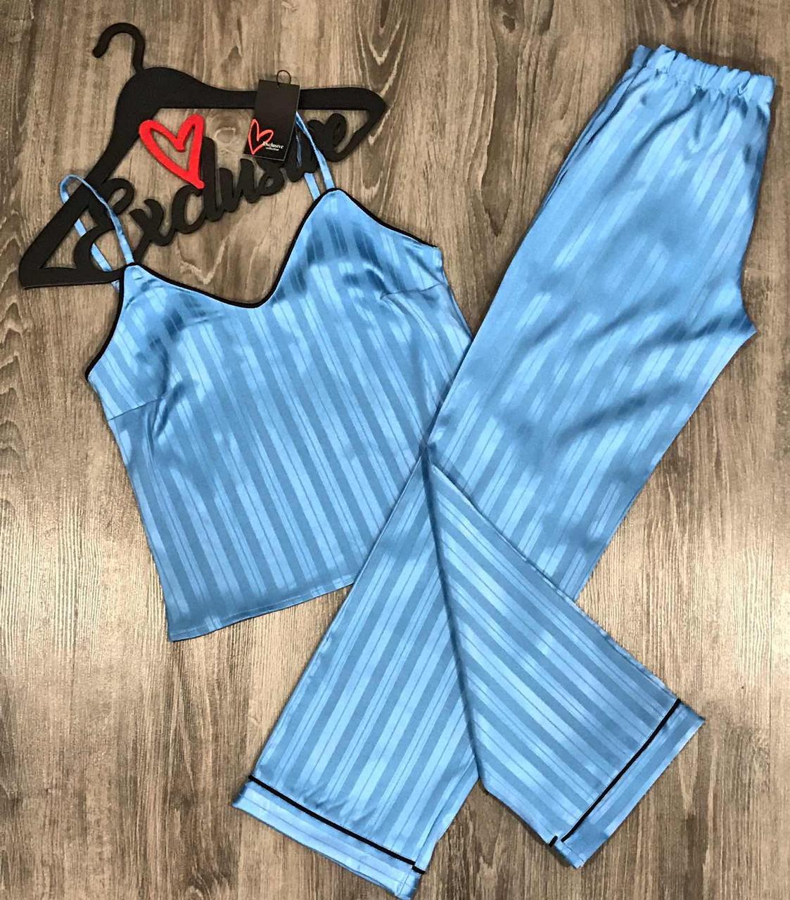 Голубая пижама с штанами в полосочку 079.