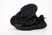 Кроссовки мужские Adidas Ozweego в стиле Адидас Озвего, замша/кожа, текстиль код KD-12040. Черные 44