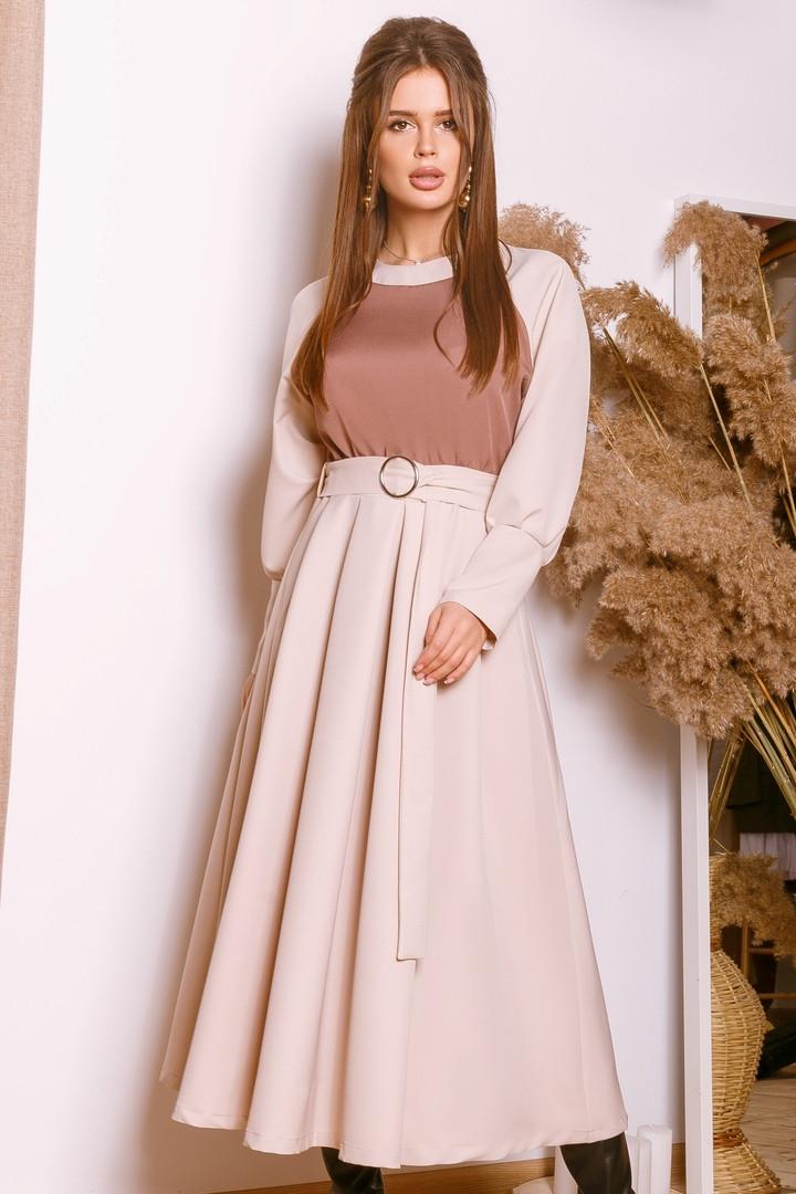Женское яркое и нарядное платье с контрастным верхом т.м. Амбре AM1754