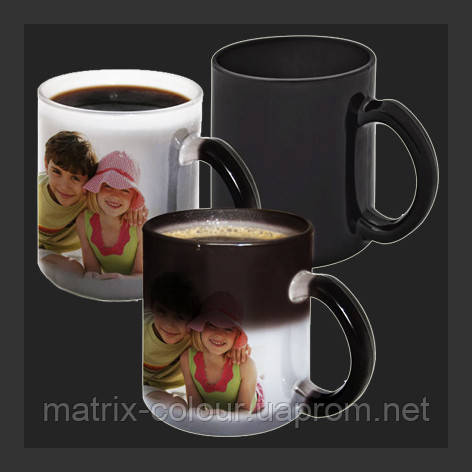 Нанесение изображения на чашку магическую чёрную.