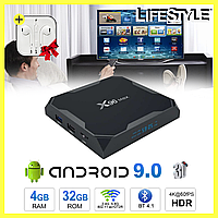 Приставка Android TV Box H96 MAX 4/32gb Android 9.0 + Подарунок! Наушники