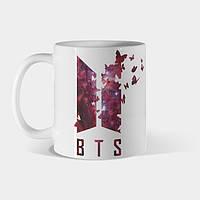 Кружка BTS Army Logo Red galaxy butterfly Kpop fans Чашка БТС логотип