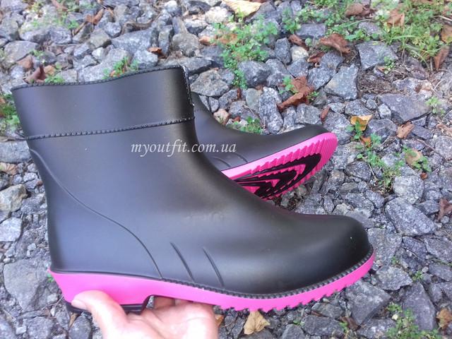 Чёрно-розовые полусапоги
